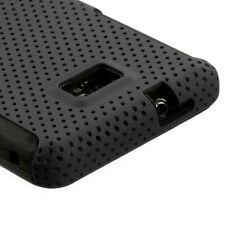 Straight Talk Samsung Galaxy II 2 S959G MESH Hybrid Rubber Skin Case Cover Black