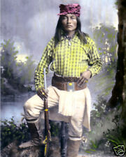 "YELLOW COYOTE CHIRICAHUA NATIVE AMERICAN INDIAN 8x10"" HAND COLOR TINTED PHOTO"