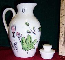 Vintage Ceramic Oil or Vinegar Cruet w/ Stopper White w/ Wine Glass Bird Design