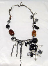 Black & Amber Lucite Beads w/ Faux Pearls & Dangling Silver Tone Chains Necklace