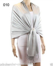 New Soft Classic Solid Silver Pashmina Silk Cashmere Wool Shawl Scarf Stole Wrap