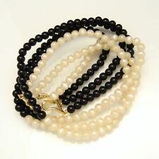 MONET Vintage Necklace 3 Multi Strands Black White Creamy Faux Pearls