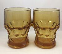 Vintage Libbey Georgian Honeycomb Amber Gold 8 oz Tumblers Glasses - Set of 2