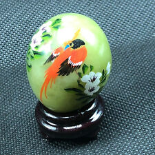 Jadeite Collectors Egg good luck figurine Japan jade green marble phoenix orange
