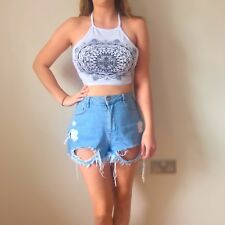 Boohoo Size 10 Womens White And Black Patterned Sleeveless Halterneck Crop Top