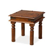 Solid Sheesham Wood Jali Small Square Coffee Lamp Side Table    Madras Range