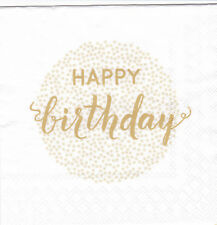 Servietten 33x33 20St. (009) Geburtstag Happy birthday weiß gold