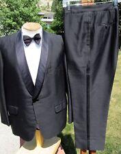 Vintage Hong Kong Made Silk Black Tuxedo 44S 37x27 -Alterable Shiny Tailored Tux