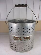 Vintage Falls City Minnow Bait Bucket w/ Paper mache Air Breather & Wood Handle
