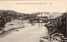 Rumford, ME. 1940's post card, Oxford Mills and River