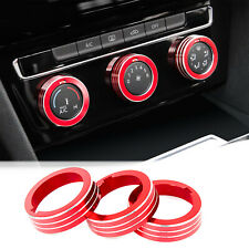 Red Aluminum Ac Climate Control Ring Knob Covers Set For Vw Mk7 Golf Gti 2015-up