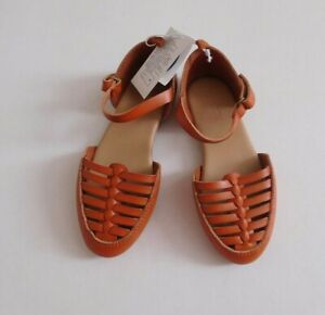 NWT Old Navy Faux-Leather Ankle-Strap Huarache Flats sz 10 or 11