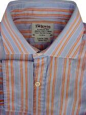 TM LEWIN 100 Shirt Mens 15.5 M Narrow Multi-Coloured Stripes SLIM FIT