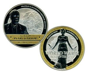 PEARL HARBOR COIN PROOF WORLD WAR II THE WAR IN THE PACIFIC VALUE $99.95