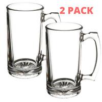 Beer Mug with Handle 26 oz - Jumbo, Heavy, Drinking Glass, Sports, Bar - 2 PACK