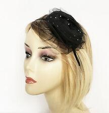 Stunning Chiffon and Net Black Flower Fascinator with Diamante on Headband
