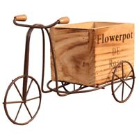Wooden Tricycle Model Flower Pot Wrought Iron Bicycle Flower Stand Indoor S H3C6