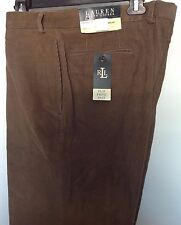 Lauren Ralph Lauren Neville Corduroy Pants Tan Flat Front Size 38 X 32 NWT