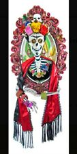 """Katherine's Collection 35"""" Day of Dead Frida Khalo Skull Portrait 3D Wall Mount"""