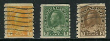 Canada #126/128-129, 1918-1923 King George V - Admiral Issues, Coil Perf. 8 Used