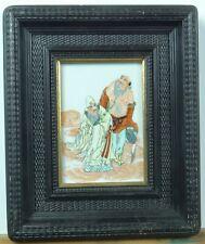 Tableau peinture chinoise sur céramique, épisode de la vie de Confucius.