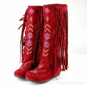 Womens Embroidery Hidden Wedge Suede Fringe Tassel Moccasin Mid-Calf Knee Boots