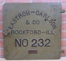 Old EKSTROM-CARLSON&CO ROCKFORD ILL Cast Iron Machinery Equipment Door Art Sign