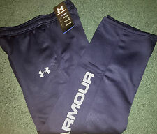 NWT Under Armour Boys XL Navy Blue/Gray Graphic Print Cold Gear Sweat Pants YXL