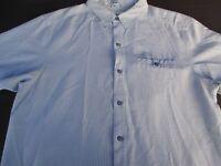 Columbia Mens Button Front Short Sleeve Logo Plaid Shirt Large L
