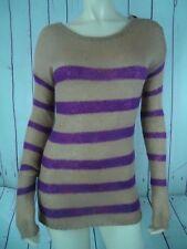ANN TAYLOR LOFT Sweater S Pullover Acrylic Nylon Mohair Magenta Tan Stripe SHEER