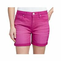 Womens SEVEN7 Stretch Mid Thigh Roll Cuff Pink Denim Shorts Multiple Sizes