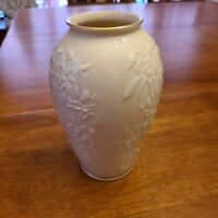 """Lenox Vase Lily Floral Pattern Gold Trim Made In USA  7.5"""" tall"""