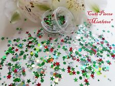 Nail Art Chunky *Mistletoe* Xmas Snowflakes Star Hexagon Glitter Spangle Mix Pot