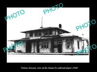 OLD LARGE HISTORIC PHOTO OF NELSON ARIZONA, VIEW OF THE RAILROAD DEPOT c1940