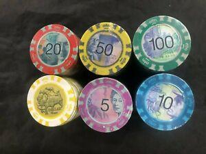 NEW 500 Aussie Dollars Poker Chipset Chips  w/ ALUMINIUM CASE