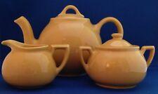 Warm Yellow Lipton Teapot, Creamer, and Sugar made by Hall China