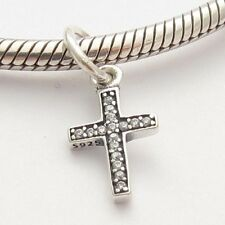 CROSS FAITH SYMBOL CHARM Clear CZ Sterling Silver.925 For European Bracelet 862