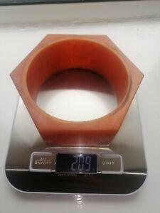 Good Vintage Phenolic Amber Bakelite Clock Case  like Handle 209g Marbled