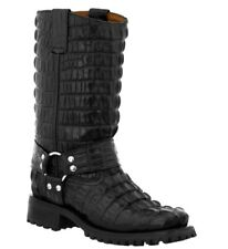Mens Motorcycle Boots Alligator Tail Print Leather Harness Square Toe Black