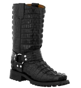 Mens Motorcycle Boots Leather Harness Alligator Print Square Toe Black Botas