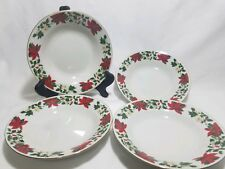 """Gibson Designs Poinsettia Holiday 8"""" Rim Soup Bowls Set of 4"""