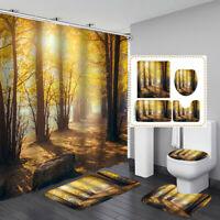 Wälder Druckschrift Wasserfest Badezimmer Duschvorhang Toilette Deckel Matte Set