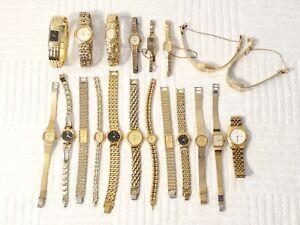 Lot of 20 Women's Seiko Pulsar Vintage Quartz Wind Up Watches Gold Tone Jewels