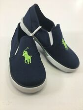 Polo Ralph Lauren Boys Toddler Slip On Canvas Sneakers Navy/Lime US:10 NEW @