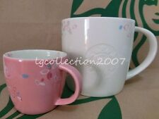 New Starbucks 2014 SPRING CHERRY SAKURA Flowers Blossom PAIR Logo Mugs 3oz 16oz
