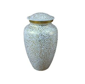 Cremation Funeral Urns white and gold Adult Funeral With Velvet Box