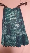 Noni-B Ladies Boho Skirt in a Green and Teal Abstract Print Size S