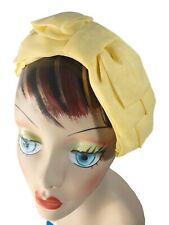 New listing Vintage 1950s Chiffon Yellow Bow Fascinator Hat Bandeau
