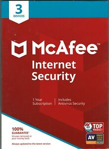 NEW McAfee Internet Security NEW 3 Device PC Mac, iOS, Android  Antivirus