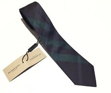 NWT $165 Burberry Men's SILK Tie In Carbon Navy Blue & Green Rohan Check Plaids